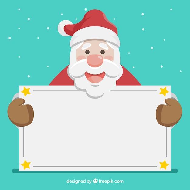 Bello Babbo Natale con segno bianco Vettore gratuito
