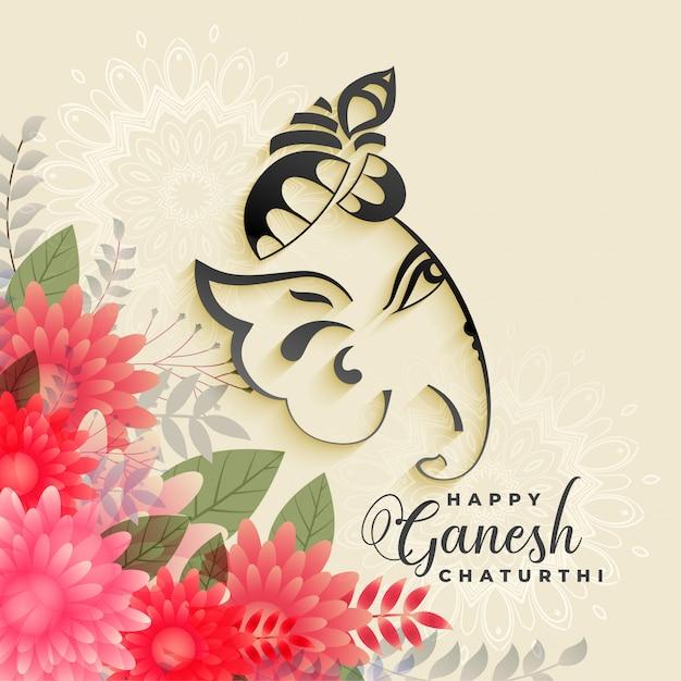 Bello festival di lord ganesha del fondo di saluto di chatanthi di ganesh Vettore gratuito