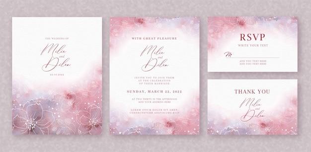 Bello fondo dell'acquerello della partecipazione di nozze con spruzzata e linee floreali Vettore Premium