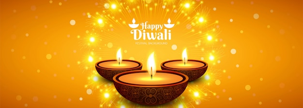 Bello fondo dell'intestazione di festival della lampada a olio di diya di diwali Vettore gratuito