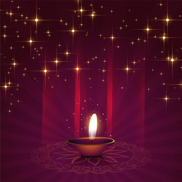 Bello fondo di diya per il festival di diwali Vettore gratuito