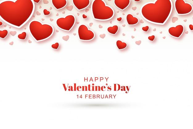 Bello fondo felice di san valentino con i cuori decorativi Vettore gratuito