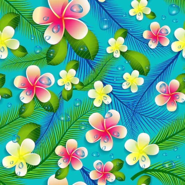 Bello fondo floreale senza cuciture del modello della giungla. Vettore Premium