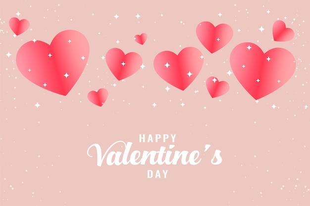 Bello fondo rosa di saluto di san valentino dei cuori Vettore gratuito