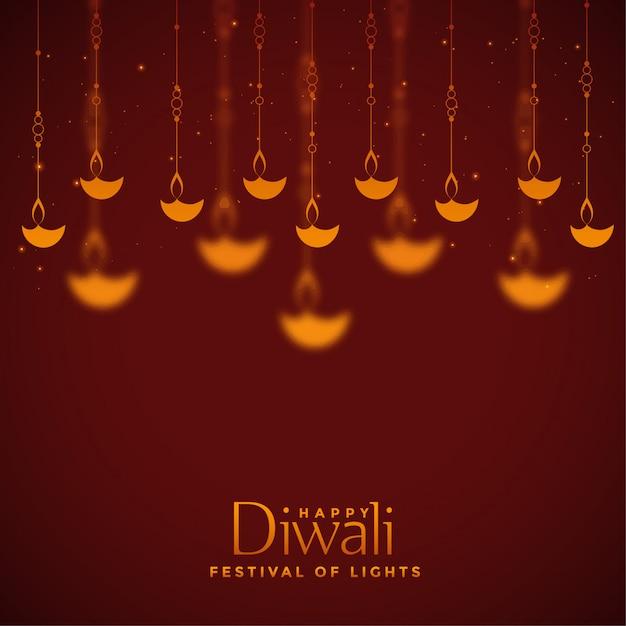 Bello fondo rosso della decorazione delle lampade di diwali Vettore gratuito