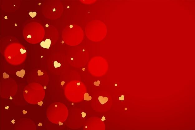 Bello fondo rosso di san valentino con i cuori dorati Vettore gratuito