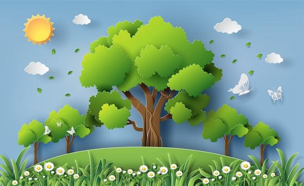 Bello giacimento di fiori della margherita con molti alberi in una foresta. Vettore Premium