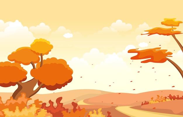 Bello giardino del parco in autunno di caduta con l'illustrazione del paesaggio del cielo dell'albero Vettore Premium