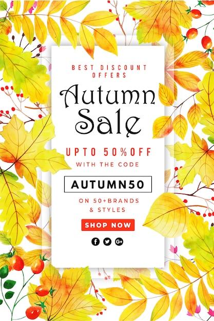 Bello manifesto di vendita dei fogli di autunno dell'acquerello Vettore Premium