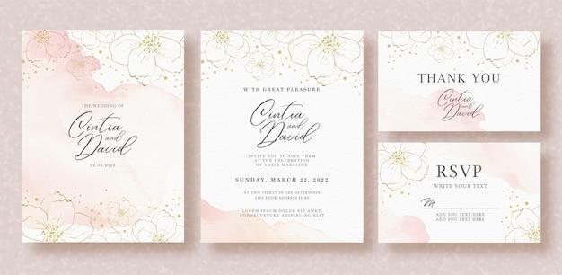 Bello modello della carta dell'invito di nozze con l'acquerello della spruzzata e del fiore Vettore Premium