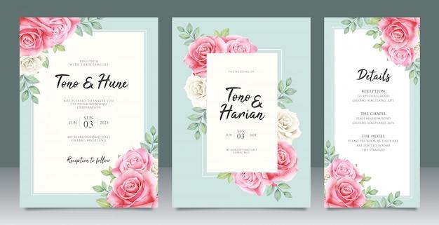 Bello modello della partecipazione di nozze con bei fiori e foglie progettazione Vettore Premium
