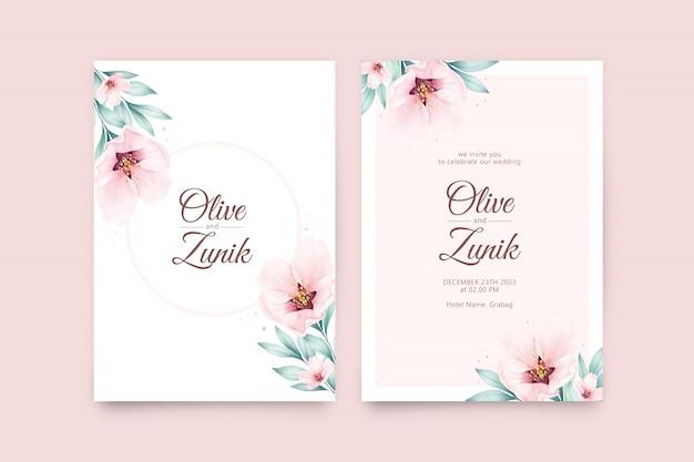 Bello modello della partecipazione di nozze con l'acquerello delle foglie e dei fiori Vettore Premium