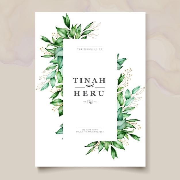 Bello modello delle partecipazioni di nozze delle foglie dell'acquerello Vettore gratuito