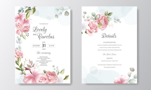 Bello modello floreale della carta dell'invito di nozze della corona Vettore Premium
