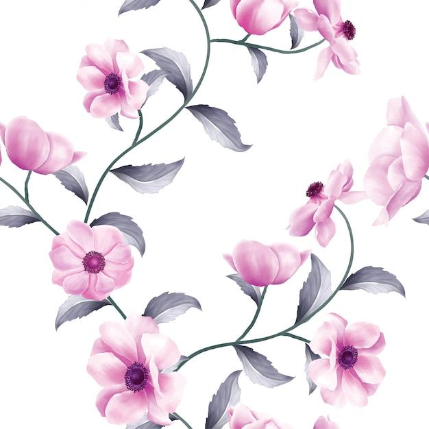 Bello modello senza cuciture dei fiori anemoni orizzontali Vettore Premium
