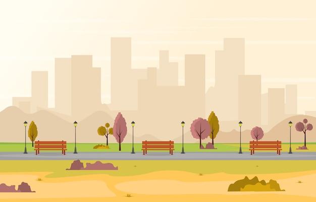 Bello parco della città in autunno di caduta con l'illustrazione dell'orizzonte della costruzione Vettore Premium