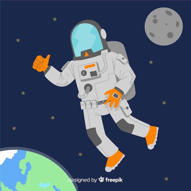 Bello personaggio astronauta con design piatto Vettore gratuito
