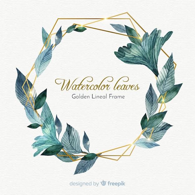 Bello sfondo acquerello con cornice di foglie Vettore gratuito
