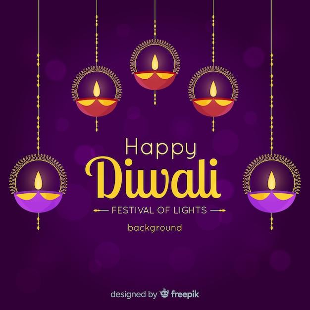 Bello sfondo di diwali con design piatto Vettore gratuito