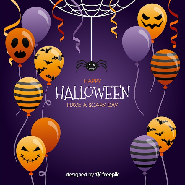 Bello sfondo di palloncino di halloween Vettore gratuito