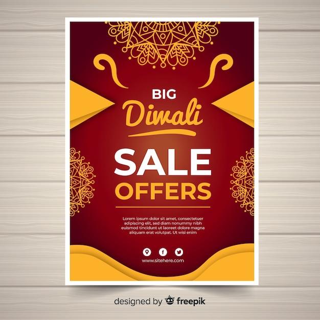 Bello volantino di vendita di diwali con design piatto Vettore gratuito