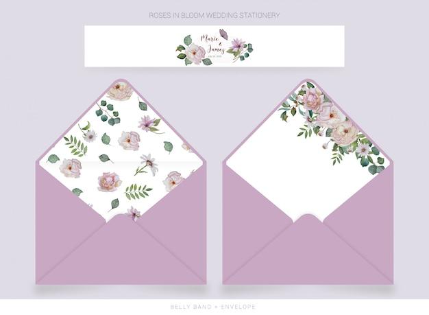 Belly band, modello di busta con fiori disegnati ad acquerello Vettore Premium