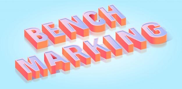 Benchmarking testo titolo isometrico Vettore Premium