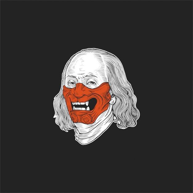 Benjamin franklin maschera illustrazione design Vettore Premium