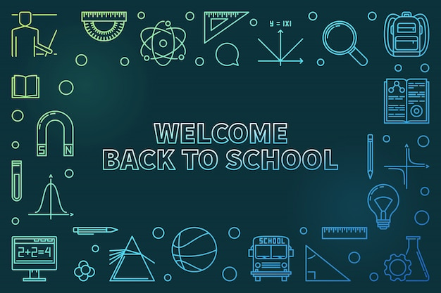 Bentornati a scuola colorata icona lineare illustrazione Vettore Premium