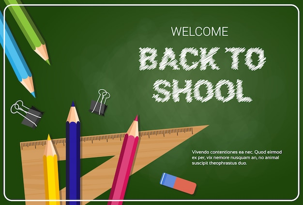 Bentornati a scuola poster pastelli colorati matite e righelli Vettore Premium
