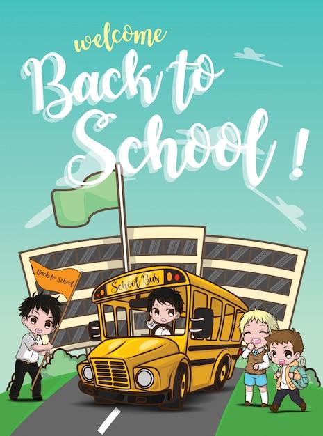 Bentornati a scuola., scuolabus sulla strada. Vettore Premium