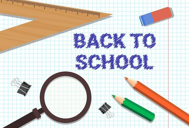 Bentornato a scuola poster matite colorate in gomma Vettore Premium