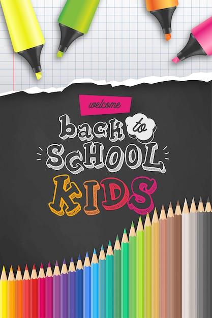 Bentornato al modello di poster di scuola Vettore gratuito