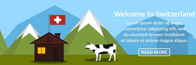 Benvenuti al concetto orizzontale della bandiera svizzera Vettore Premium