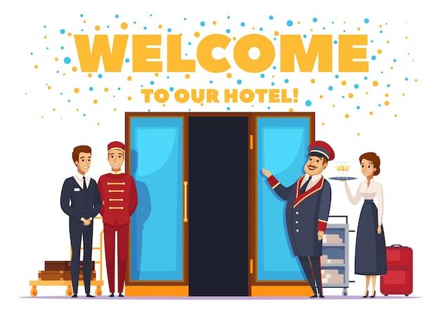 Benvenuti al poster di cartone animato dell'hotel Vettore gratuito