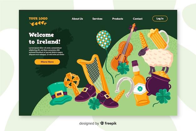 Benvenuti nel design piatto della landing page in irlanda Vettore gratuito
