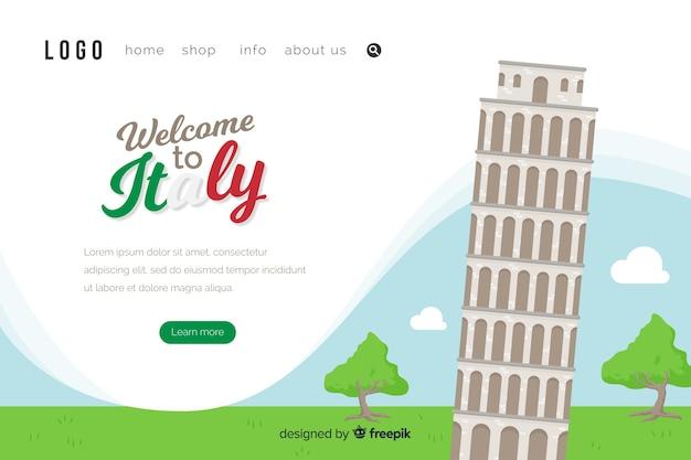 Benvenuti nel modello della pagina di destinazione in italia Vettore gratuito