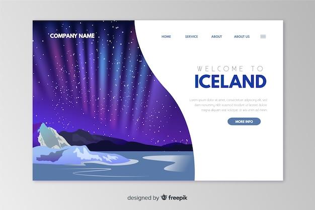 Benvenuti nel modello di landing page dell'islanda Vettore gratuito