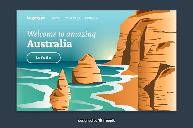 Benvenuti nel modello di landing page in australia Vettore gratuito
