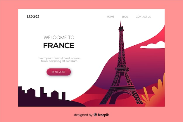 Benvenuti nel modello di landing page in francia Vettore gratuito