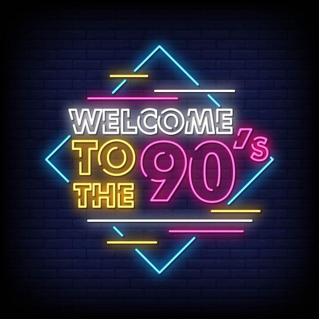 Benvenuti nel testo in stile insegne al neon degli anni '90 Vettore Premium
