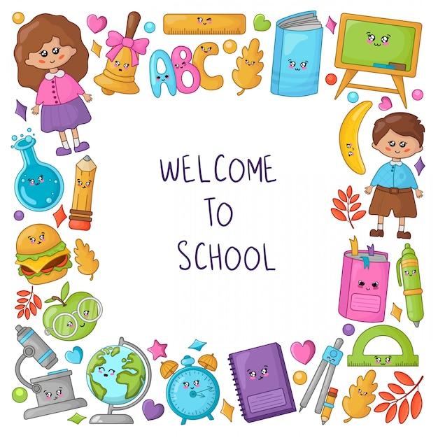 Benvenuti nella cornice della scuola con materiale scolastico kawaii e simpatici personaggi dei cartoni animati: bambini, libri, matite Vettore Premium