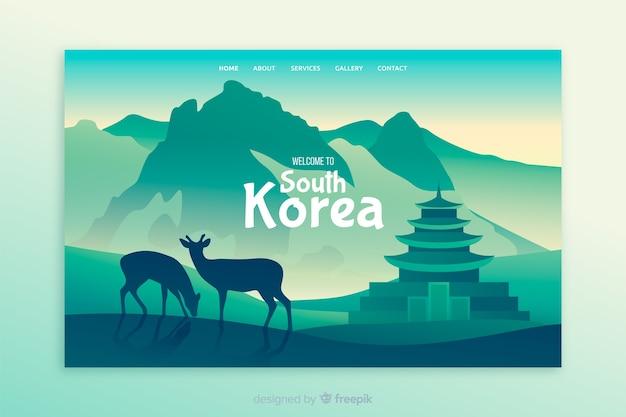 Benvenuti nella pagina di destinazione della corea del sud Vettore gratuito