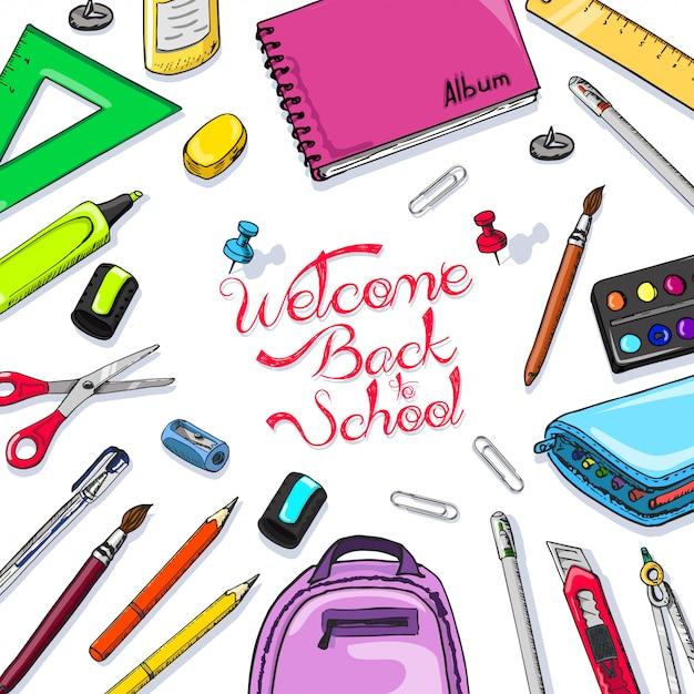 Benvenuto a materie scolastiche Vettore Premium