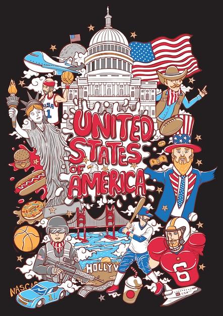 Benvenuto all'illustrazione degli stati uniti d'america Vettore Premium