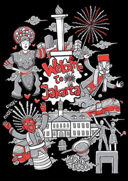 Benvenuto all'illustrazione del fumetto di jakarta Vettore Premium