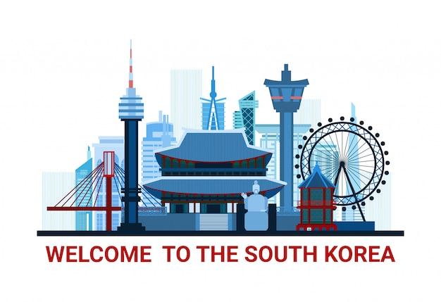 Benvenuto all'illustrazione della corea del sud con la siluetta famosa dei punti di riferimento nazionali isolata Vettore Premium