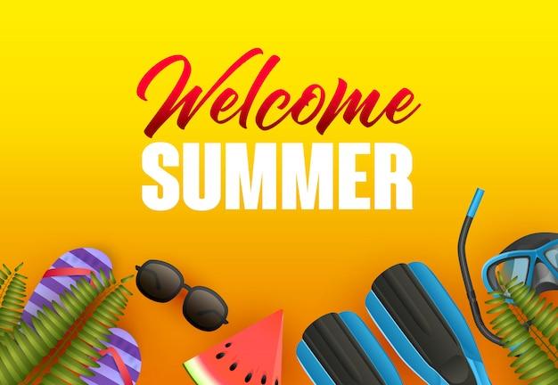 Benvenuto design luminoso poster estivo. anguria Vettore gratuito