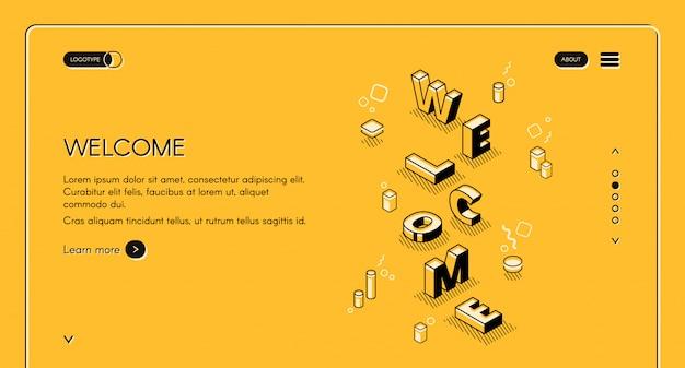 Benvenuto illustrazione di pagina web principale di lettere di parola in isometrica linea nera sottile design Vettore gratuito