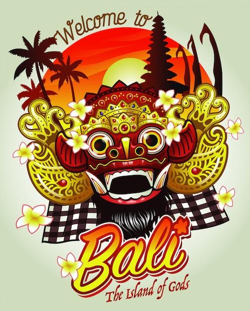 Benvenuto in bali design con maschera barong Vettore Premium